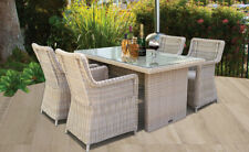 5 Piece Outdoor Patio Wicker Rectangle Table Dining Set