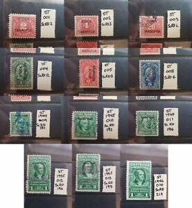 USA Stock Transfer Revenue Stamps some Perfins  Choice of stamps
