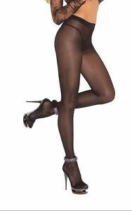Opaque Sheer to Waist Pantyhose Cotton Crotch Hosiery Nylons Black 1777
