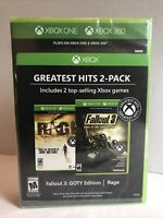 Fallout 3: GOTY & Rage Xbox One 360. 2-Pack New Sealed. Free Shipping!