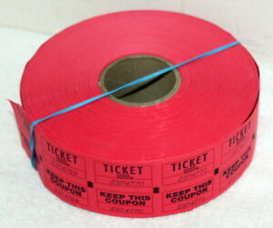 Opened Roll of Staples Red Double Number Raffle Tickets ~ 1000 ?
