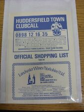 1988/1989 Huddersfield Town: Official Shopping List - Souvenir Shop Price List.