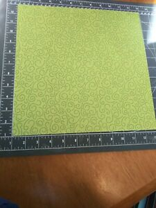 "K&Co 12"" Scrapbook Paper 5 pc Lot Ghostly Greeting Green Glitter Swirl Halloween"