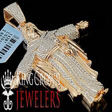 10K Rose Gold Finish Diamond Jesus Christ Pendant Round Pave Praying Charm 2.5''