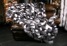 1309 Fox Fur Blanket in black & white from fox pieces Genuine Fur Real Fox Throw