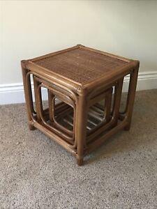 Nest Tables 3 side tables bamboo wicker cane Rattan Boho tiki 70's retro style.