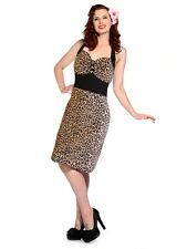 NEW S LEOPARD VINTAGE PENCIL WIGGLE DRESS RETRO 10 ROCKABILLY  BANNED STRETCH