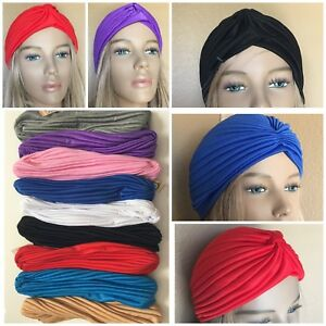 Women's Turban Hats Chemo Headcover Stretchable 2 or 6  Black, White, Royal, Red