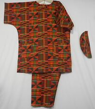 Men's Dashiki Clothing African Traditional Kente Pant Suit Ethnic Set Plus Size