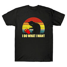 Cats Lovers I Do What I Want Retro Vintage Funny Men's T-Shirt Cotton Tee Gift