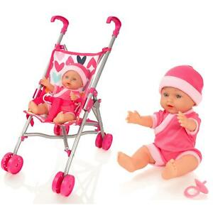 Molly Dolly My First Dolls Pram Buggy Pushchair & Baby Doll Stroller Set Girls