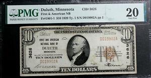 1929 $10 DULUTH, MINN Type 1 CH# 3626 1ST & AMERICAN NB TY 1 PMG 20 VERY FINE
