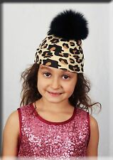 New Infant Leopard Print Beanie Black Fox Fur Pom Pom For Ages 0 to 2 Efurs4less