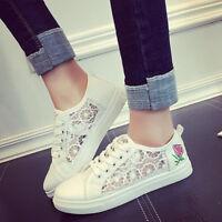Mesh Flower Shoes Womens Flats Net Crochet Sneakers Trainers Pumps Size