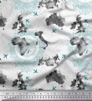 Soimoi Blanco popelina de algodon Tela pasion por los viajes y avion-iHe