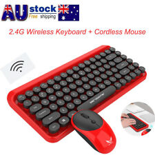 Bluetooth Wireless 2.4G Retro Round Keyboard and Cordless Optical Mouse Set Kit
