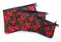Betseyville 3 Pce Make-Up Set Betsey Johnson Leopard Black Red Bows Valentine