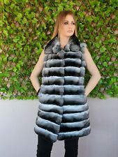REAL NEW CHINCHILLA FUR COAT VEST JACKET FULL SKINS MEX NERZMANTEL CINCILA SABLE