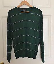 BANANA REPUBLIC Mens Sweater V-Neck Dark Green 100% Merino Wool - Large