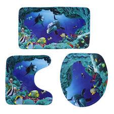 3X Ocean Dolphin Toilet Seat Cover & Pedestal Rug & Bathroom Mat Carpet Set Blue