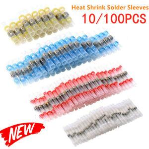10-100X Solder Seal Sleeve Heat Shrink Butt Wire Connectors Terminals Waterproof