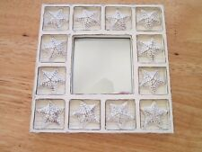 "white Sea Beach Chic SEASHELL STARFISH small MIRROR shabby cottage 6"" square"