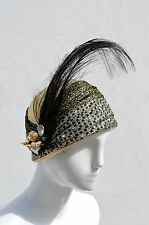 Vintage DON ANDERSON turban hat gold flapper Glam hat turban feather accessory