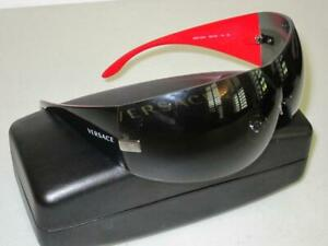 Versace VE2054 100187 GUNMETAL GRAY BLK/RED 41mm Women's Sunglasses with Case
