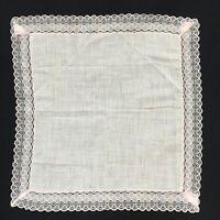 """VTG Handkerchief 11"""" Square Solid Center Sheer Pink Ribbon Border Hanky Hankie"""