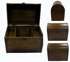 LARGE OPEN WOOD TREASURE CHEST w shelves pirate storage box VINTAGE LOOKING #001