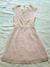 TED BAKER pale blush pink pleated skirt lace dress bridesmaid wedding party 0 6