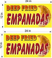 "PAIR OF 12"" X 24"" DEEP FRIED EMPANADA EMPANADAS VINYL BANNERS"