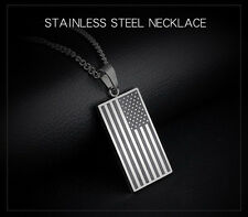 Mens Stainless Steel American Flag Pendant Link Chain Patriotic Necklace + Box