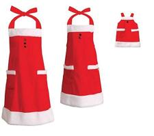 "Christmas Matching Santa 3 Apron Set fits Mommy, Child,18"" Girl Doll American"