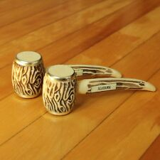 VTG Salt & Pepper Shakers Alabama Souvenir Pipes Plastic Wood Style Country Chic