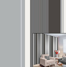 Crown Charcoal Millie Stripe Silver White Grey Black Metallic Feature Wallpaper
