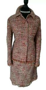 Womens Boden Wool Boucle Peach  Multi Tweed Jacket Skirt Suit UK 14