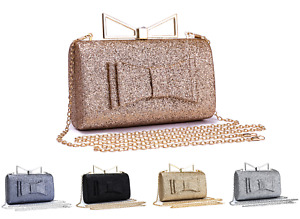 Women Sparkling Glitter Large Bow Clasp Wedding Prom Party Evening Clutch Bag