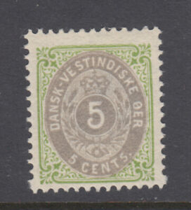 Danish West Indies Sc 19 Bi-Colored 5 Cents Green & Gray VF MInt Light Hinged