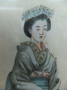 silk pictures paintings Geisha & ceremonial man kimono art history Japan fashion