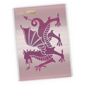 Welsh Dragon Stencil - Reusable 23 x 17 cm Dragon Template