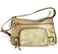 Stone Mountain Leather Purse Shoulder M Pebbled Metallic Gold Tone Pockets GUC