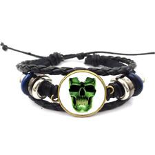 Glow In The Dark Skull Glass Cabochon Bracelet Braided Leather Strap Bracelets