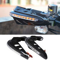 1 pair Black Motorcycle Brush Guards reinforced hand guard with YELLOW LED light