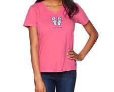 Life Is Good Womens Medium Pink Crusher V-Neck T-Shirt Flip Flop Livin On A Pair