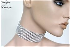 Silver or Rainbow AB Crystal Diamante Rhinestone Festival Rave Choker Necklace