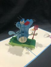 Oggy and the Cockroaches 3D Pop Up Card Greeting French Cartoon Lazy Cat