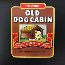 Vintage Old Dog Cabin Straight Bourbon Bottle Label Advertising English Bulldog