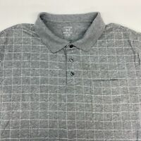 George Polo Shirt Mens 2XL XXL Short Sleeve Gray Check Chest Pocket Cotton Blend