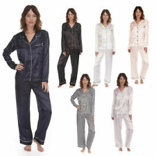 Ladies Womens Satin Pyjama Set Lounge Sleep Plain Long Sleeve FOREVER DREAMING